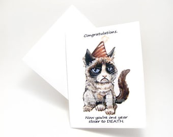Grumpy Cat Card, Funny Birthday, Blank Greeting Card, Adult Humor, Cat Meme, Sarcastic Card, Custom Name, Personalized Message