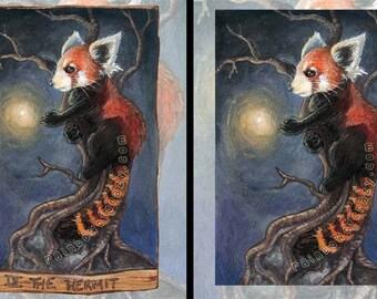 Red Panda Print, Firefly Poster, Hermit Tarot Card, Woodland Wall Art, Forest Animal Illustration, Animism Tarot Deck, Night Sky
