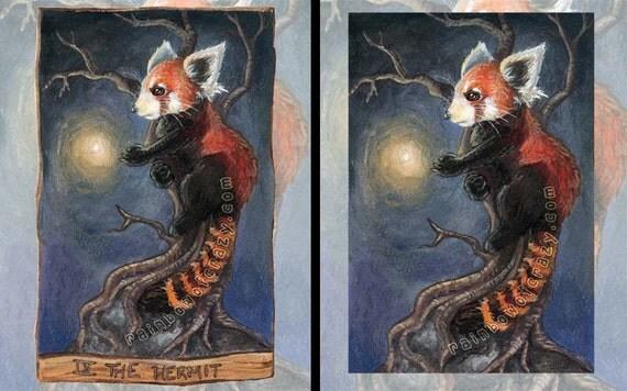 Red Panda Print, Firefly Picture, Tarot Card Art, Hermit Tarot, 8x10 Wall art, Animal Illustration, Red and Blue, Animism Tarot Deck