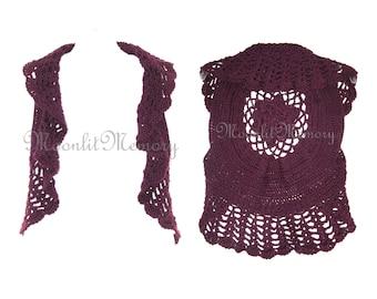 Rose Vest Ruffled Sweater Hand Crocheted size M Purple Top Handmade