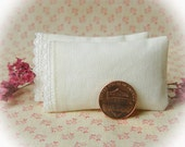 Miniature Set of 2 Ivory Pillows with Arched Scallop Trim  - 1:12 scale, One Inch Scale
