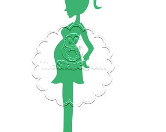 Pregnant Woman Silhouette Die Cut for Scrapbooking or Cardmaking