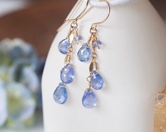 Tanzanite Earrings, Tanzanite Gold Earrings. Tanzanite Dangle Earrings, Delicate and Feminine, Romantic Jewelry, December Birthstone Jewelry
