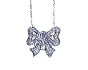 Lace Bow Statement Necklace in Silvery Grey