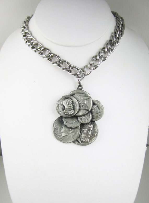 Items similar to roman coin necklace signed swank long for What is swank jewelry