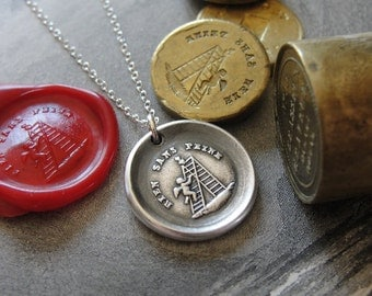 Wax Seal Necklace Nothing Without Effort - antique wax seal charm jewelry Cupid Heart Love motto in French by RQP Studio