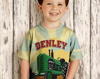 Boys Tractor Shirt, Personalized Farmer Birthday T-Shirt, Farm Green Tractor Shirt