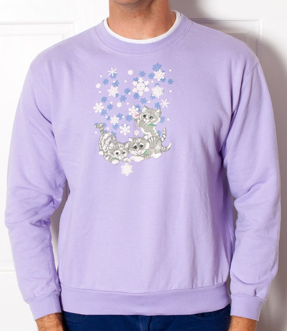 Women's Sweatshirt TOP STITCH Kittens and Snowflakes