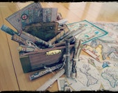 Set of FIVE maps - Ancient, Antique and Modern for dollhouse, Blythe, Gi Joe, fun...etc...