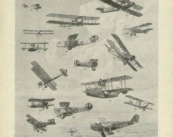 Antique Print, 1920, PICTURES Of The AEROPLANE, aeroplane aircraft, planes, plane, flying, flight