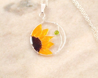 Resin Filled Sunflower Wire Necklace