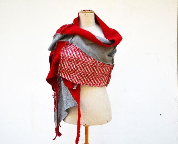 Cozy Patchwork Hand knited shawl scarf, red, light gray, origami style asymmetrical unique OOAK,soft felted wool, geometrical, warm, boho 59