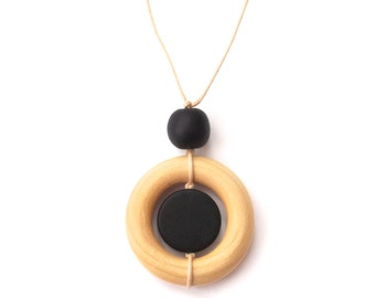 Wood Teething Necklace/ Resin Nursing Breastfeeding Necklace - Black