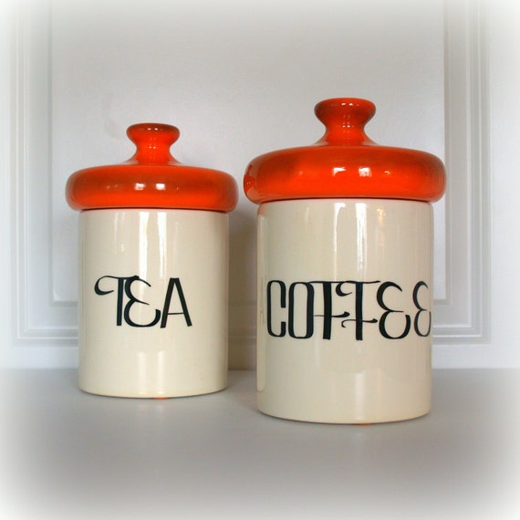 orange storage jars kitchen vintage mid century retro canisters orange by acesfindsvintage 3766