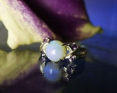 Opal Ring Amethyst Accents Sterling Silver