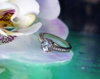 Engagement Ring, Handmade Engagement Ring, White Gold Ring, Unique Engagement Ring, Conflict Free Ring, Antique Style Ring, Gemstone Ring