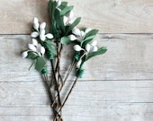 White pip berries hair clip,  Whimsical, botanical, garden wedding, bridesmaids, Hair Accessories. Woodland, white hair clip.