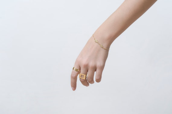 Adjustable Square Hole Urban Ring in Gold, Gold Ring, Adjustable Ring