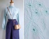 Vintage 80's Seaglass Blue Scallops & Floral Cutout Blouse XS or S