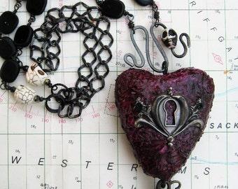 Skeleton Key Heart necklace, hand beaded and vintage chain, lock, key, keyhole