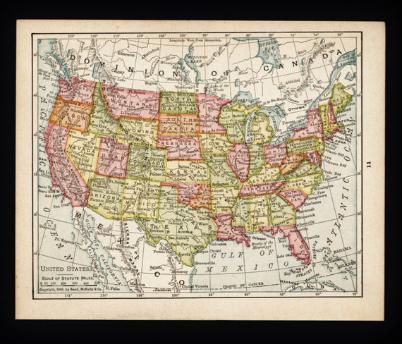 Small USA Map Wall Art Early 1900s Antique By