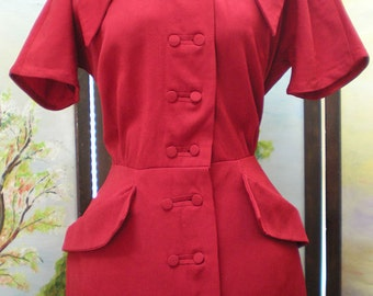 SALE RARE Vintage 1940's Ruby Red Gabardine Dress Cute button details
