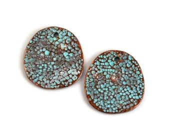2 Mykonos Moonscape Disc - 29mm Green Patina - Textured Round Disk