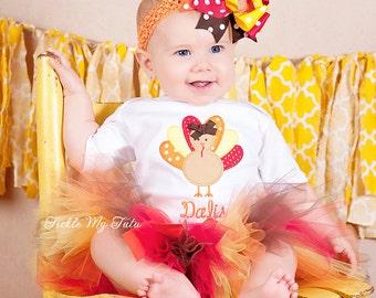 Little Turkey (Harvest Colors) Thanksgiving Tutu Outfit-Thanksgiving Pageant Outfit-My First Thanksgiving Tutu Outfit *Bow NOT Included*