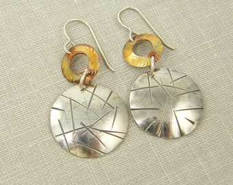 Mixed Metal Earrings - Sterling Silver Copper Geometric Metalwork Textured Jewelry