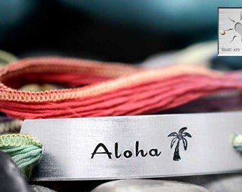 Aloha Bracelet - Custom Silk Wrap Bracelet - Hand Stamped - Personalized - Hand Dyed Silk Ribbon - Palm Tree