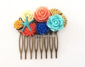 Starfish Hair Comb Coral Blue Turquoise Navy Orange Beach Wedding Gold Shell Bridal Headpiece Colorful Bright Summer Bridesmaids Vibrant