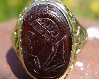 Old Estate White Gold Carnelian Cameo Ring Size 6 1/2
