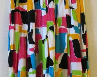 90s Abstract Print Skirt XS 24 Waist