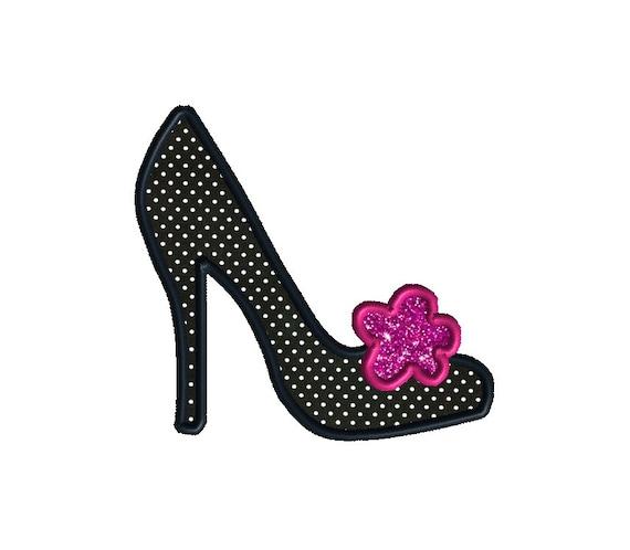 Ooo La La Shoe Applique Machine Embroidery Design-INSTANT