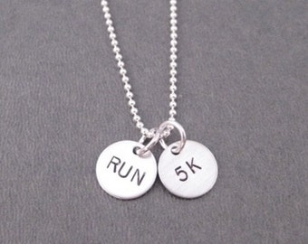 RUN 5K Sterling Silver 2 Disc Running Necklace - 16, 18 or 20 in. Sterling Silver Ball Chain - 5K Runner Jewelry - Cross Country - Road Race