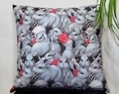 Danger Bunnies pillow cover - original art home decor - 18 inch
