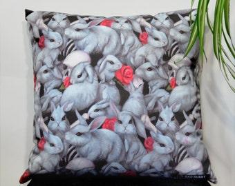 Danger Bunnies pillow cover - original art home decor - 18 inch