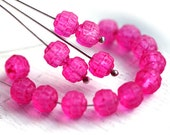Matte Fuchsia Pink czech glass beads, cathedral, round, fire polished, coated - 6mm - 25Pc - 2111