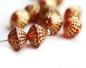 Puffy bicone beads, Siam Red Golden inlays, czech glass, green, gold wash - 10x8mm - 12Pc - 2526