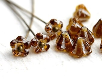 Bell Flowers, czech glass beads, bead cap - Amber Topaz with white inlays - 6x4mm - 15Pc - 1219