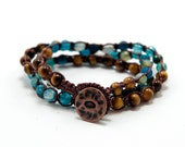 Tigers eye and agate beaded stone macrame, triple wrap bracelet, double wrap anklet, or single chain necklace