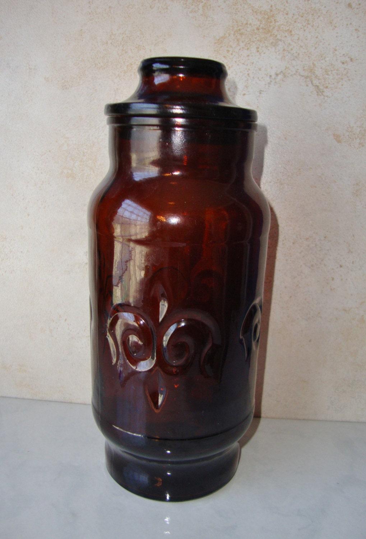 Vintage Brown Glass Canister Glass Jar Fleur De Lis
