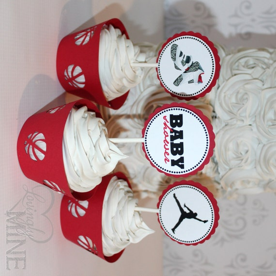 items similar to jordan jumpman inspired baby shower cupcake toppers
