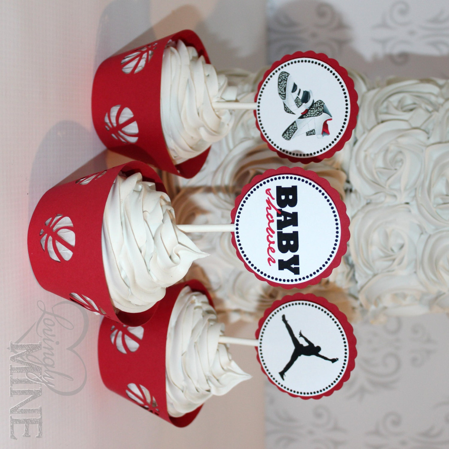 jordan jumpman inspired baby shower cupcake by lovinglymine