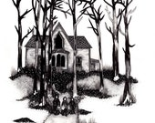 Original Art // Original woodland drawing // Graphite Drawing // Haunted House Art // Horror Film Illustration // Trick Or Treat
