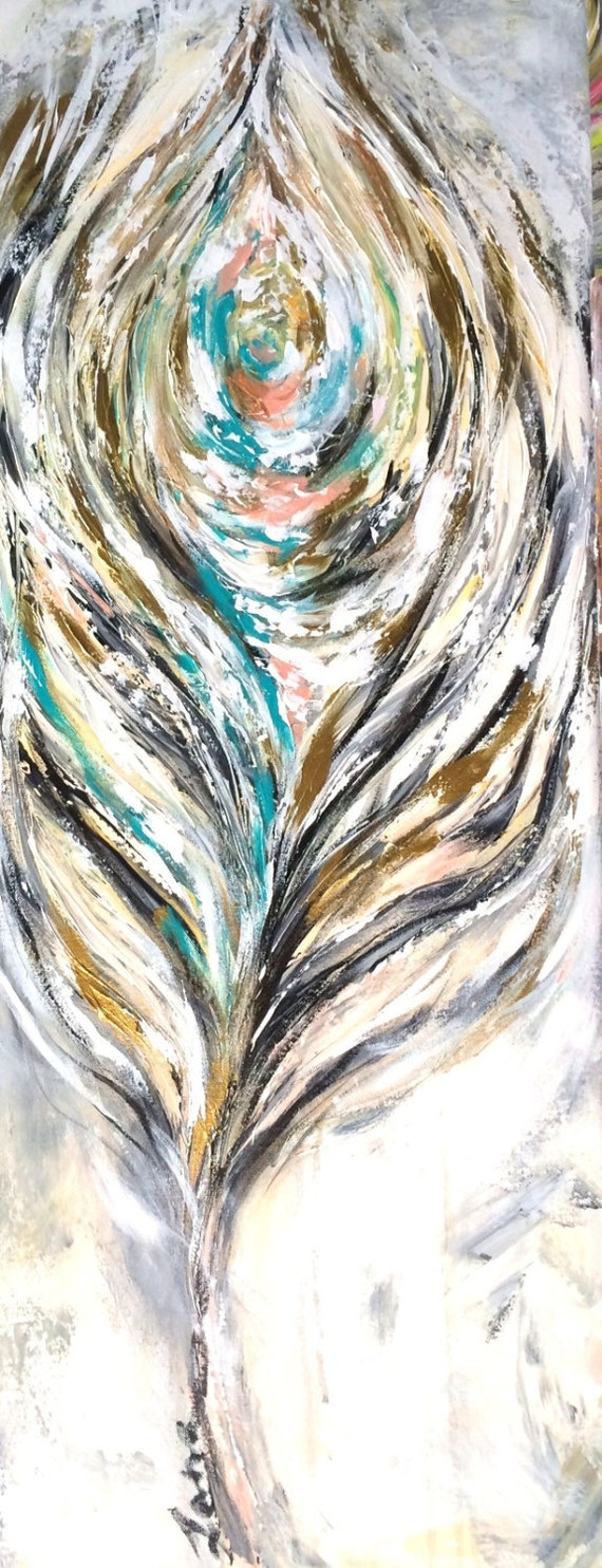 Large abstract feather painting original painting ready to for Painting feathers on canvas