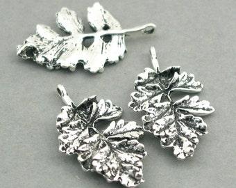 Leaf Charms Links Antique Silver 2pcs pendant beads 19X31mm CM0082S