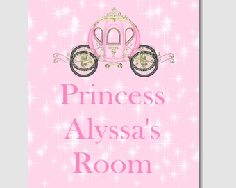 Baby Girl Nursery Playroom Wall Decor Princess Pink Gray Chevron