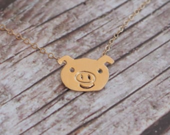 Gold pig necklace etsy gold piggy necklace cute small pig charm animal necklace pig jewelry gift mozeypictures Gallery