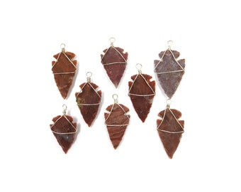 Jasper Stone Arrowhead Silver Pendant 15% off SALE - 1 Red Orange Natural Rough Stone Wrapped in Silver Wire For Jewelry Making (Lot B12J)